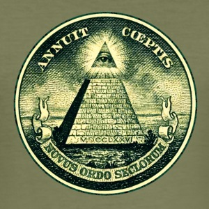 All seeing eye, pyramid, dollar, freemason, god T- - Men's Slim Fit T-Shirt
