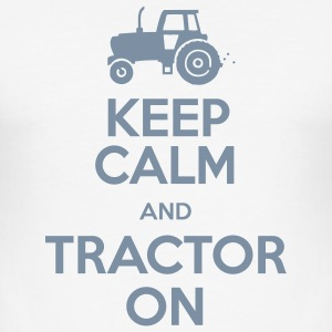 Keep Calm & Tractor On - Men's Slim Fit T-Shirt