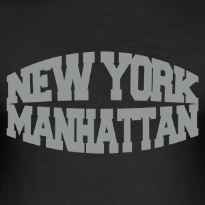 Black new york manhattan Men's T-Shirts - Men's Slim Fit T-Shirt