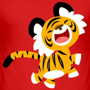 Wine Cute Laughing Cartoon Tiger by Cheerful Madness!! Men's T-Shirts - Men's Slim Fit T-Shirt