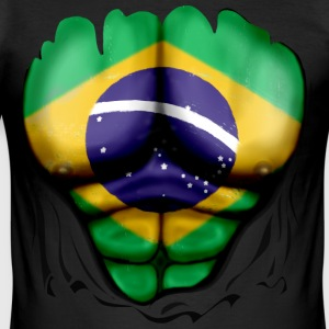 Brasil Flagg Kruse Muskler - Slim Fit T-skjorte for menn
