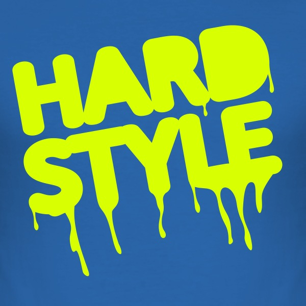 I live hardstyle / Techno Music / Electro | neon - Tee shirt près du corps Homme