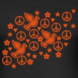 æggeblomme gul fred område / peace field (1c) T-shirts - Herre Slim Fit T-Shirt