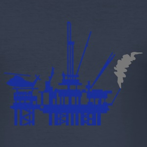 Dark navy offshore-booreiland / offshore oil rig (2c) T-shirts - slim fit T-shirt