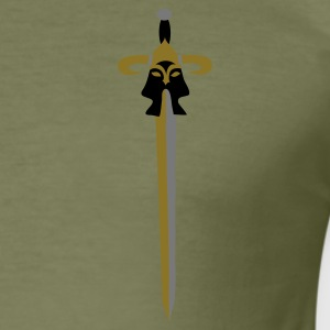 Army green Viking sword long by Patjila Men's T-Shirts - Men's Slim Fit T-Shirt