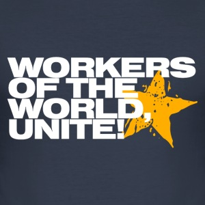 Workers of the world, unite! (navy) - Men's Slim Fit T-Shirt