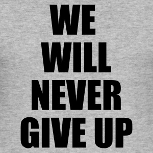 Grijs gespikkeld we will never give up T-shirts - slim fit T-shirt