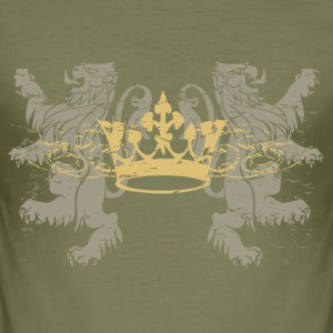 Braun Lion and Crown T-Shirts - Männer Slim Fit T-Shirt