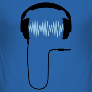 Royal blue DJ headphone rhytm frequency equalizer Men's T-Shirts - Men's Slim Fit T-Shirt