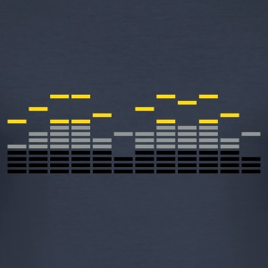 Navy FreQueNz EQUALIZER EQ BEAT SOUND MUSIK techno electro table de mixage DJ T-shirts - Tee shirt près du corps Homme