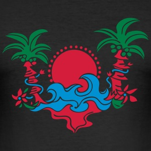 palm tree, beach, sun, sea, surf, holiday, palms   Camisetas - Camiseta ajustada hombre