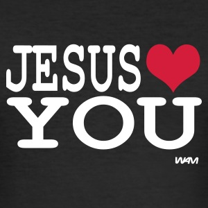 Svart jesus loves you T-shirts - Slim Fit T-shirt herr