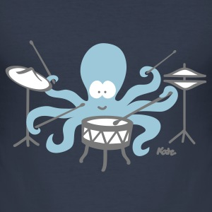 Marinblå Octopus (c) T-shirts - Slim Fit T-shirt herr