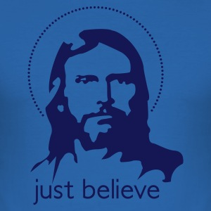 Blu royal jesus just believe T-shirt - Maglietta aderente da uomo
