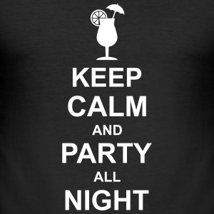 keep_calm_and_party_all_night_2_g1 T-shirts - Herre Slim Fit T-Shirt