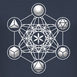 Metatrons Cube, Platonic Solids, Sacred Geometry T-Shirts - Men's Slim Fit T-Shirt