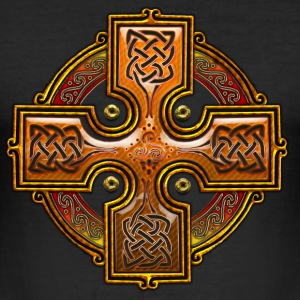 Orange Celtic Cross Triskellion.png Tee shirts - Tee shirt près du corps Homme