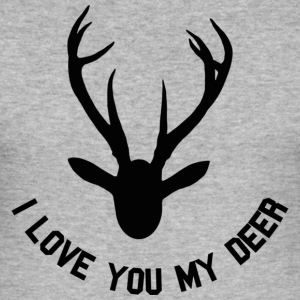 Gris chiné I love you my deer T-shirts - Tee shirt près du corps Homme
