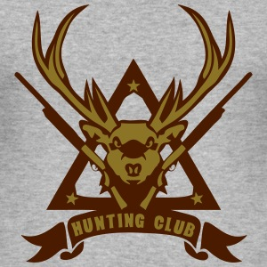 cerf logo chasse deer hunt 5 fusil Tee shirts - Tee shirt près du corps Homme