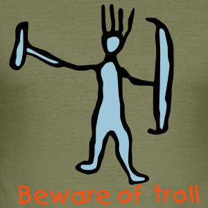 Unusual Troll Beware of troll Slim T-shirt - Men's Slim Fit T-Shirt