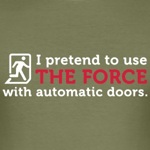 Open Automatic Doors with the Force (2c) T-shirts - slim fit T-shirt