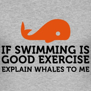 If swimming is great exercise, explain Whales (2c) T-Shirts - Men's Slim Fit T-Shirt
