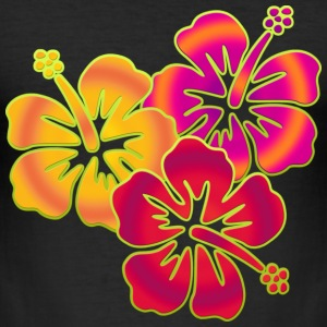 BALI HIBISCUS BLOOMS TRIO | Slim Fit Shirt - Männer Slim Fit T-Shirt