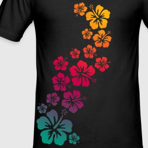 BALI HIBISCUS BLOOMS COLOURED | Slim Fit Shirt - Männer Slim Fit T-Shirt