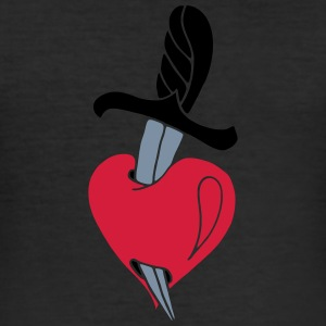 Broken Hearts Love Hate Tattoo Knife blood dagger T-Shirts - Men's Slim Fit T-Shirt
