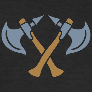 brave warrior gladiator axe tomahawk knights fight T-shirts - slim fit T-shirt