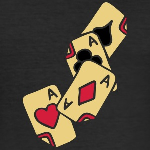 Poker Cards Game Ace Heart Spade Cross Caro Tattoo T-shirts - Slim Fit T-shirt herr