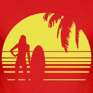 BEACH SURFING GIRL PALME 1C T-Shirts - Men's Slim Fit T-Shirt