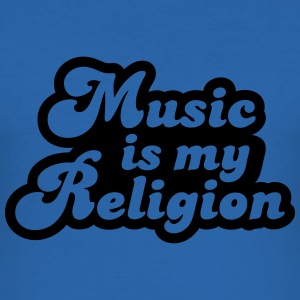 Music is my religion T-shirts - Slim Fit T-shirt herr