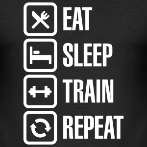 Eat sleep train repeat - bodybuilding T-Shirts - Men's Slim Fit T-Shirt