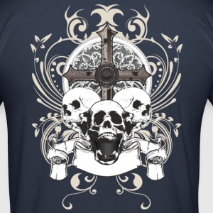 skulls and cross T-shirt da Uomo Slim Fit - Maglietta aderente da uomo