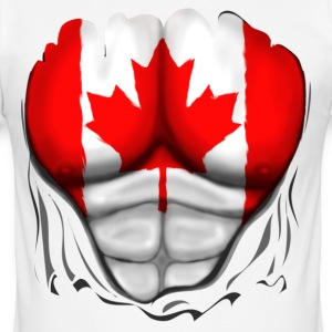 Canada Flag Ripped Muscles, six pack, chest t-shir - Men's Slim Fit T-Shirt