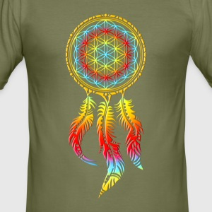 Dreamcatcher, Flower of Life, Spiritual, Indians T-Shirts - Men's Slim Fit T-Shirt