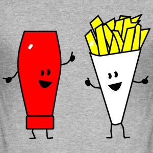 french fries ketchup T-skjorter - Slim Fit T-skjorte for menn
