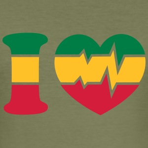 Reggae Heart, Music, Rastafari, Jamaica, Africa, T-skjorter - Slim Fit T-skjorte for menn