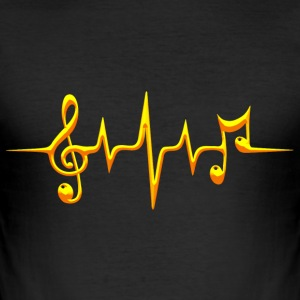 Music, pulse, notes, frequency, clef, bass, sheet Camisetas - Camiseta ajustada hombre