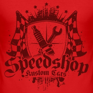 Speedshop // Red - Männer Slim Fit T-Shirt