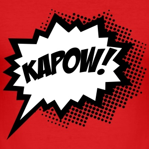 KAPOW!, Comic Style Speech Bubble Bang, Boom, Pow  - Männer Slim Fit T-Shirt