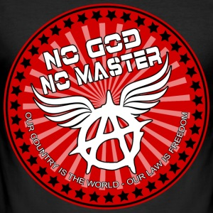 no god no master our country is the world Tee shirts - Tee shirt près du corps Homme