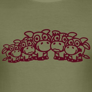 cow_family_with_girl_and_two_boys_1c T-shirts - Herre Slim Fit T-Shirt