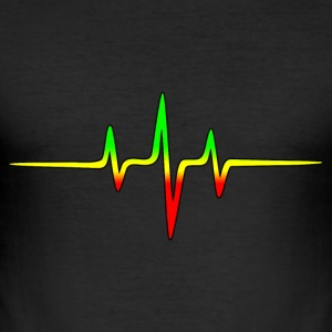 Reggae, music, notes, pulse, frequency, Rastafari T-shirts - Herre Slim Fit T-Shirt