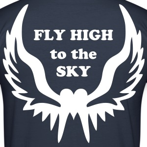 Heart Wings + Dein Text (FLY HIGH to the SKY) | Männershirt slim fit dark navy - Männer Slim Fit T-Shirt