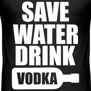 Alcohol Fun Shirt - Save water drink Vodka Tee shirts - Tee shirt près du corps Homme