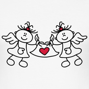 Two little angels and a heart Camisetas - Camiseta ajustada hombre