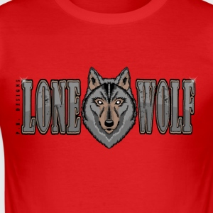 Lone Wolf T-Shirt Rot - Männer Slim Fit T-Shirt