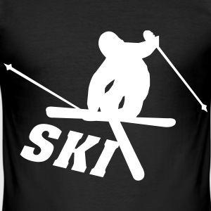 Ski, ski, skiing, après ski, freeski, winter T-Shirts - Men's Slim Fit T-Shirt